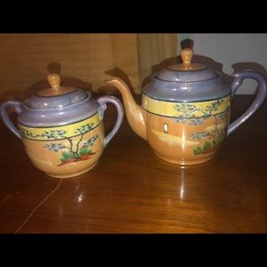 Vintage Japanese 2 pcs hand painted Lusterware